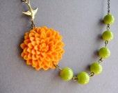 Bridesmaid Gift,Orange Flower Necklace,Orange Floral Necklace,Bridesmaid Necklace,Orange Necklace,Chartreuse Necklace,Bridesmaid Jewelry Set