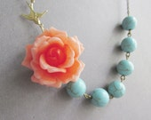 Orange Flower Necklace,Flower Necklace,Orange Floral Necklace,Turquoise Necklace,Bridesmaid Necklace,Bohemian Necklace,Bridesmaid Gift,Gift