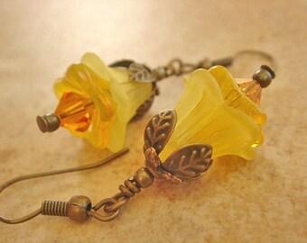Vintage Style Earrings, Yellow Earrings, Flower Earrings, Dangle Earrings, Gold Earrings