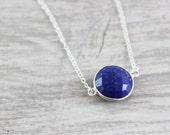 Dark Blue Necklace, Lapis Lazuli Gemstone Necklace, Large Pendant Necklace, Sterling Silver Necklace, Deep Blue Necklace, Royal Blue