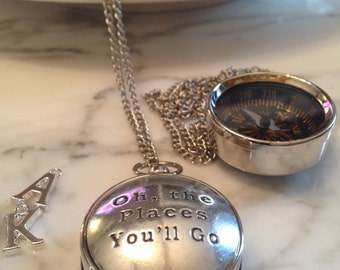 Working Compass Necklace Dr. Seuss Oh the Places You'll Go Quote Compass Silver Compass Gift for Her Compass Necklace Wife Girlfriend Gift