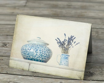 Shabby Chic Note Card - Lavender with Ginger Jar and blue and white jug French cottage style photograph