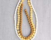 SALE! 3 Strands of Jade Beads - white and yellow jade - 6-8mm gemstone rounds