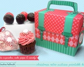christmas cake pop and cupcake box - holds cookies, candy, party treat and favor box, printable PDF kit - INSTANT download