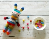 children easter rabbit toy, crochet amigurumi doll, bright colorful rainbow .. hobart