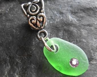 SALE, Sea Glass Jewelry - Beach Glass Charm - CHARMED