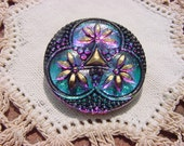 Emerald Fuchsia Shimmer Golden Leaves Czech Glass Button