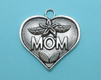 2 Mom Charms Silver Tone Metal Large Size (H8042)