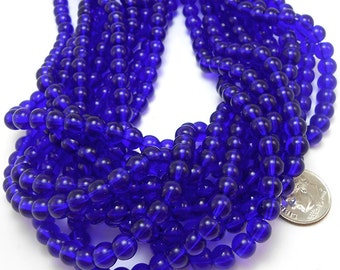 52 Cobalt Blue Glass Beads 6mm round (H1578)
