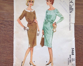 1960's Raglan Sleeve Wiggle Dress  Pattern Vintage McCall's 5468
