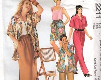 McCall's 2211 Sizes 26 28 30W Shell Top, Shirt, Pants, Shorts, Skirt Ensemble Bust 48 50 52