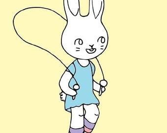 SALE! Skipping Bunny Rabbit Embroidery Pattern PDF - Simple and Easy for Beginners