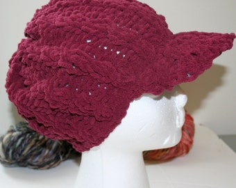 Cabled Brimmed Newsboy Hat - very soft!