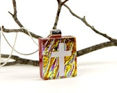 Celtic Cross Pendant-Tree of Life - Dichroic Cross Necklace - Dichroic Jewelry - Fused Glass Christian Pendant