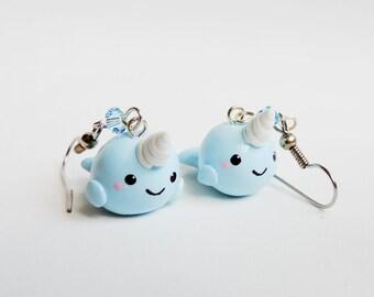 Blue Baby Narwhal Dangle Earrings