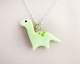 Cute Pastel Green Brontosaurus Dinosaur Necklace