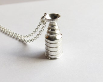 Sterling Silver Trophy Cup Hockey Necklace