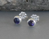 Amethyst Studs, Amethyst post Earrings, February Birthstone Earrings, Bezel Set Amethst Earrings