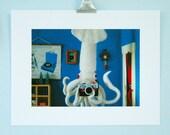 Print: Giant Squid Selfie - plush diorama camera photo blue toy