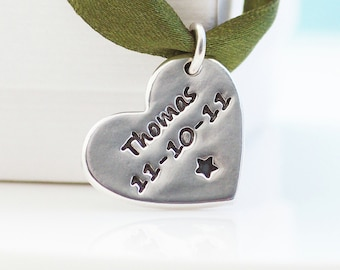 Personalised Heart Shaped Silver Charm, Name Charm,keepsake, Personalised Charm for mummy,mommy necklace, new baby, christening gift