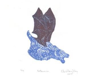 The Batbearoo Mini Print, a linocut imaginary marsupial bear with bat wings, Crypotozoology, Imaginary Zoology Collection Tiny Lino Print