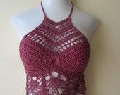 Crochet halter top, Halter top, festival clothing, boho chic, beach cover up, burning man, gypsy top, cotton