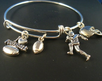 Football Themed Silver Bangle Bracelet, Adjustable Bangle, Football Helmet