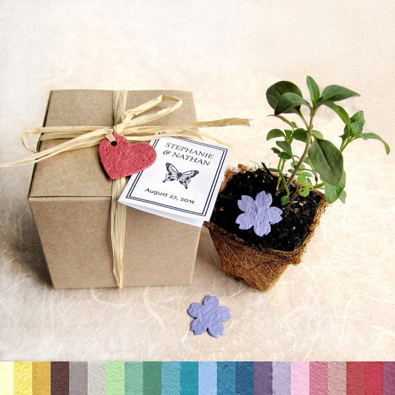 25 Wedding Favors Plantable Seed Paper and Plantable Pots - Flower Seed Favors Kit