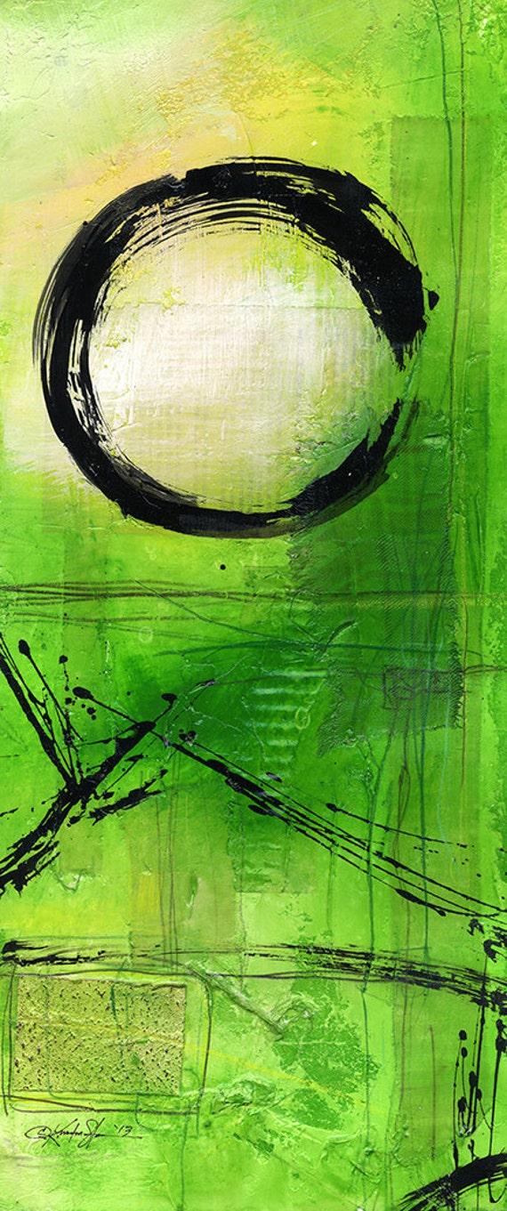 Original Enso Zen Painting Throw Pillows