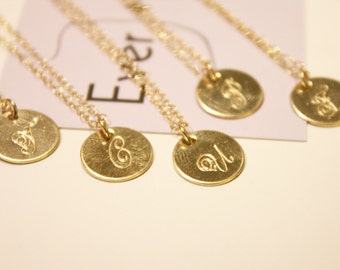 Gold Initial Necklace In A Bottle - 14k Gold-Fill - Hand-Stamped Fancy Script