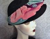 1940s, 1950s I. Magnin Wool Felt, Velveteen  Hat, Paillettes, Great Colors