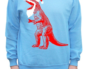 Funny Ugly Christmas Sweater Santa T-Rex Dinosaur Sweatshirt Pullover