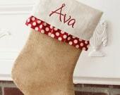 SALE!! Ruffled Burlap Christmas Stocking - Red and cream detail - Free monogramming