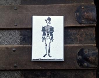 happy cat lady skeleton letterpress card