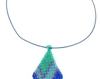 Blue and Green Chainmaille Necklace, Colorful Chainmail Pendant