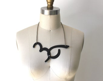 Number 36 Necklace Black with Rhinestone