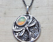 The Dragonfly Pendant- Opal and Sterling