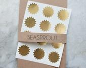 48 Metallic Gold Starburst Stickers, Wedding Favor, Envelope Seal, Gold Stickers, Award Stickers, Invitation Stickers, Star Sticker