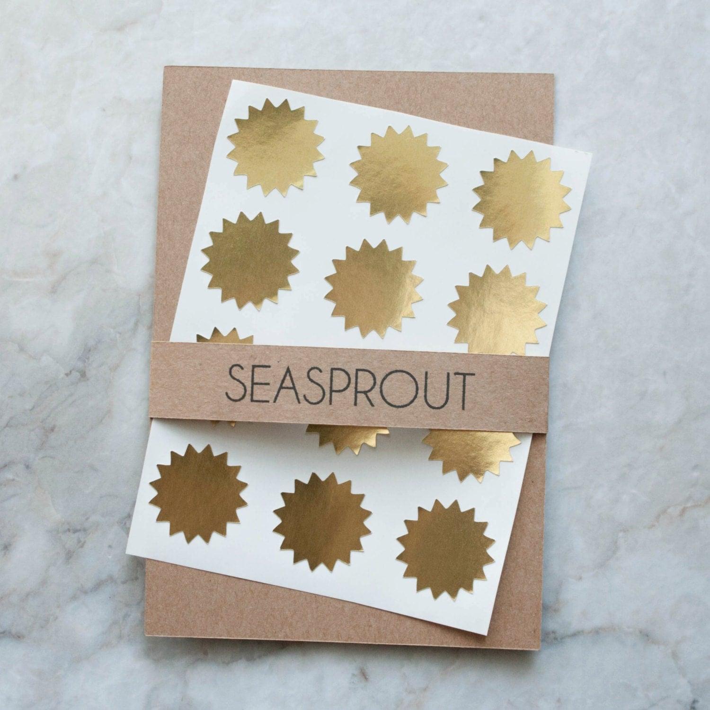48 metallic gold starburst stickers wedding favor by seasprout