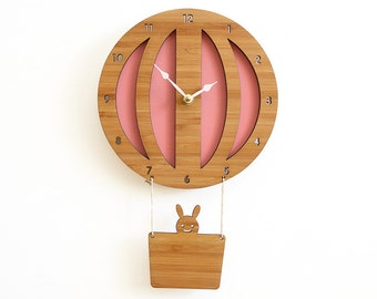 Unique wall clocks, Hot Air Balloon Wood Clock, Kids wall clock