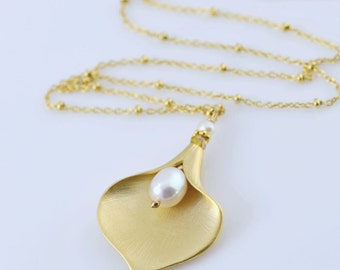 Golden Calla Lily Necklace - Gold Vermeil, White Fresh Water Pearls, Czech Crystals