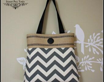 Gray  Chevron Fabric Handbag / Jute Webbing