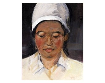 Portrait Chinese Herbal Doctor Limited Edition Fine Art Giclee Print Impressionistic Free US Shipping and US Insurance