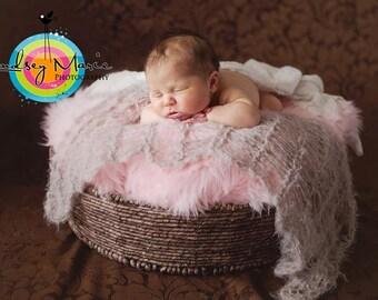 Newborn Photo Prop Blanket - Beige, Tan, Brown Baby Photo Prop Lace