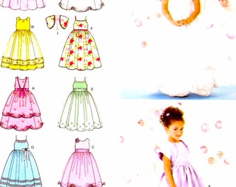 Flowergirl dress pattern Wedding party special occasion dress and bolero for girls sewing pattern Simplicity 3943 Sz 5 to 8