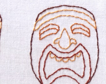 Tiki Hand Embroidery Pattern, Tiki Masks, Head, South Pacific, Hawaii, Tribal, PDF
