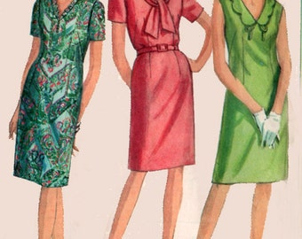 1960s Sheath Dress Simplicity 5037 with Three Unique Necklines Vintage 60s MADMEN Sewing Pattern Half Size 18.5 Bust 39 UNCUT