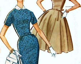 1960s MadMen Dress w/ Full or Slim Skirt McCalls 5939 Vintage 60s MOD Sewing Pattern Size 12 Bust 32