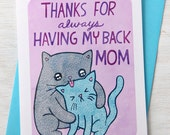 Mother's Day Card - Thanks for Always Having my Back Mom - Cats