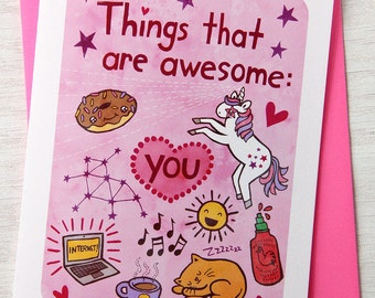 Things that are Awesome - Thinking of you card - Anniversary Card